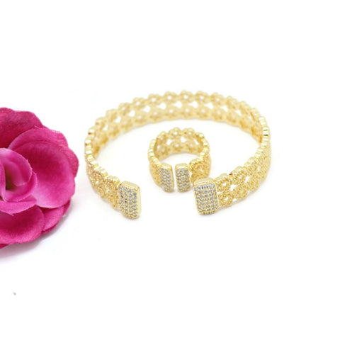 18Kt Gold Plated 2 Pieces Women's Bracelet & Ring Delicate Fashion Jewelries