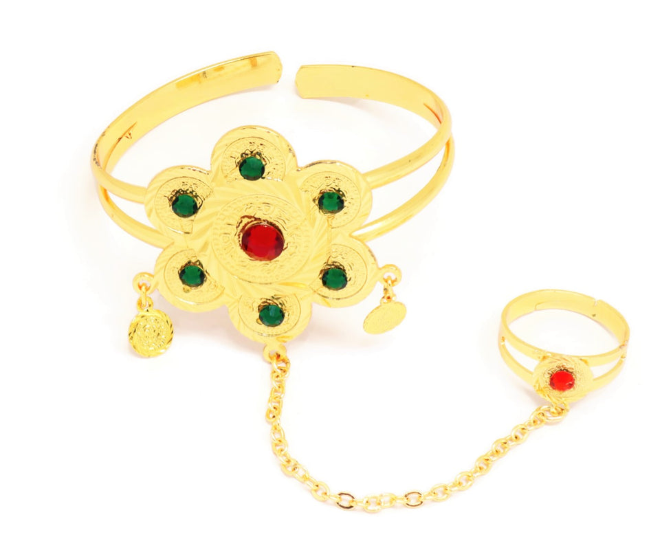 Cuff bracelet for Women, Multi-colour stone engravings, Gold plating, With a seminal  star charm, Coin shaped   jhumkaas and Ring attached