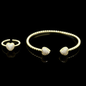 18Kt Gold Plated 2 Pieces Women's Bracelet & Ring Delicate Fashion Zircon Decor Jewelries - Jawaherat