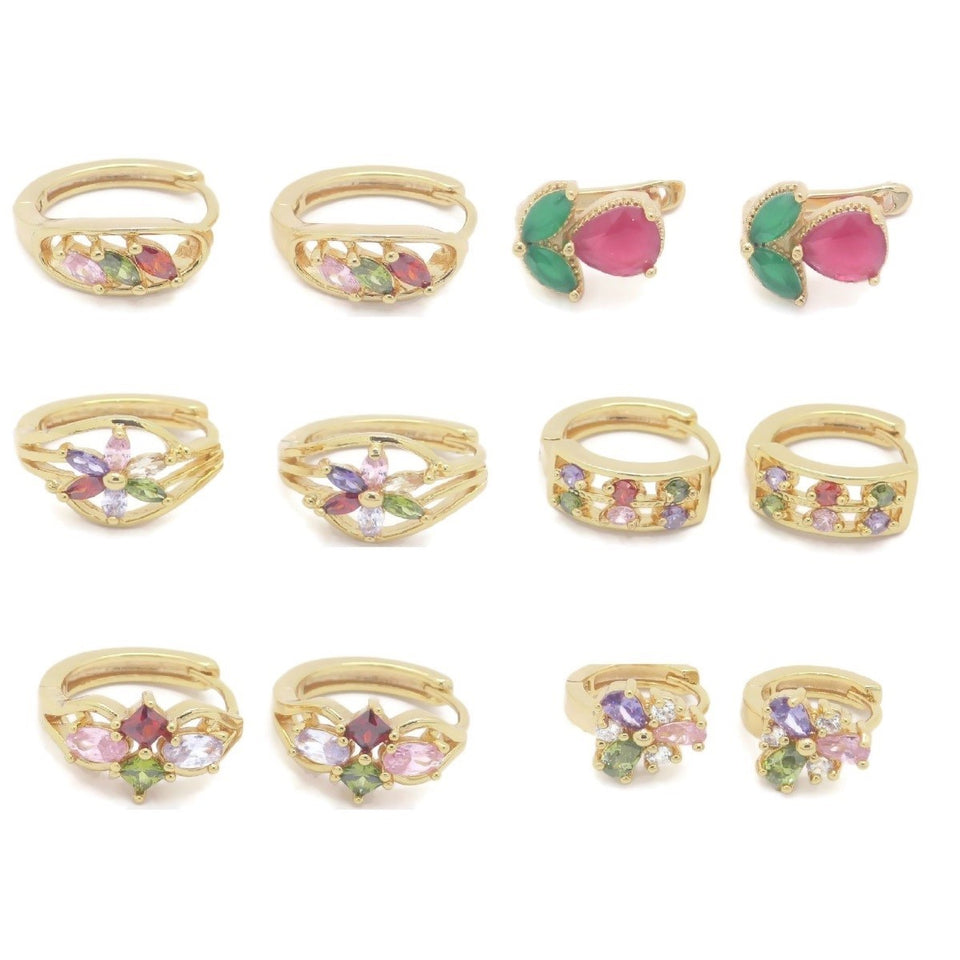 18Kt Gold Plated 6Pcs Earring Hoop Set - Jawaherat