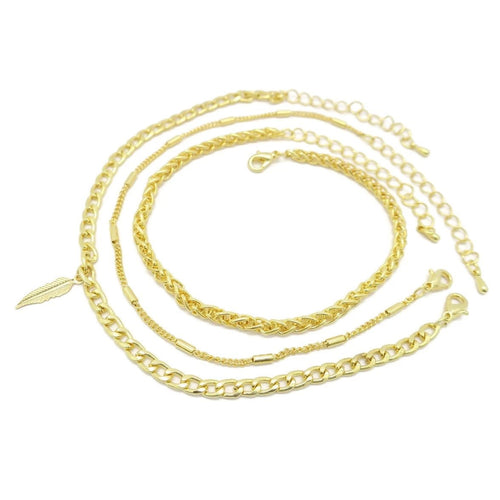 Triple Women's Leaf Anklet Chain Design - Jawaherat