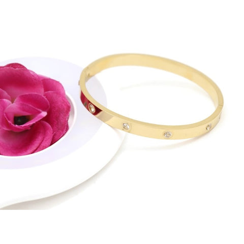 18KT GOLD PLATED WOMEN'S FASHION STAINLESS STEEL BANGLE BRACELET