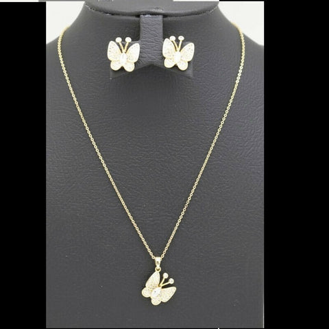 18Kt Gold Plated 2 Pcs Set Women's Fashion Delicate Butterfly Design Zircon Jewelries - Jawaherat