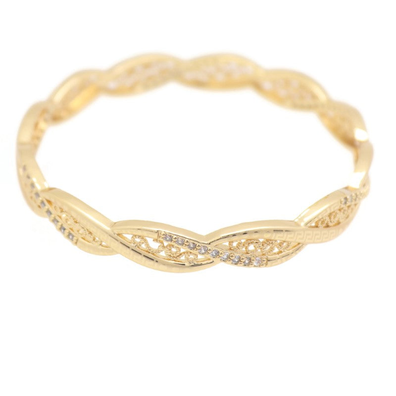 18Kt Rose Gold Plated Women's Fashion Bangle Bracelet - Jawaherat