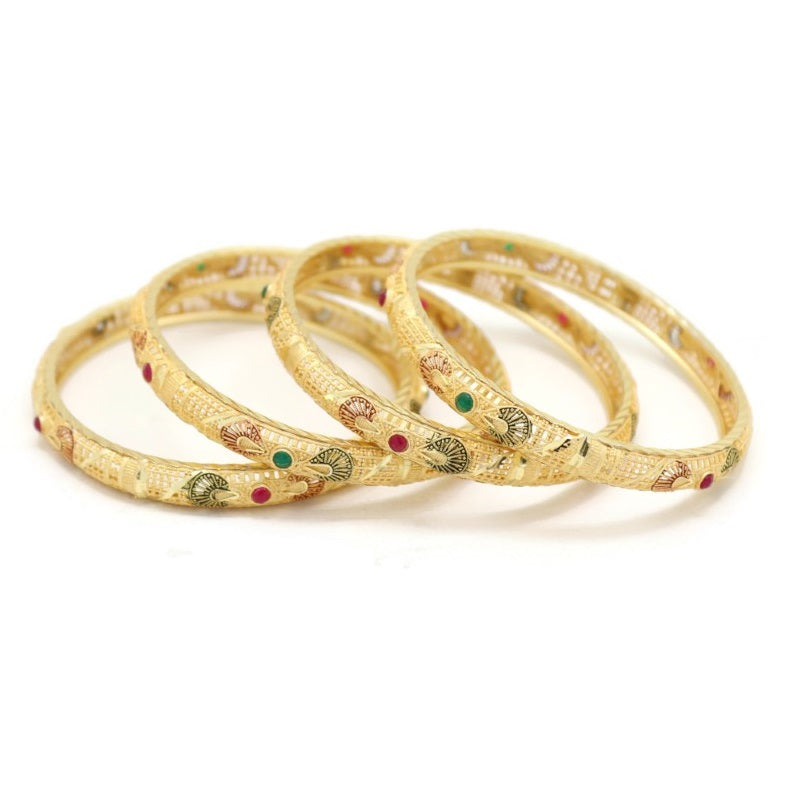 18Kt Gold Plated Women's 4 Pieces Set Fashion Bangle Bracelet - Jawaherat