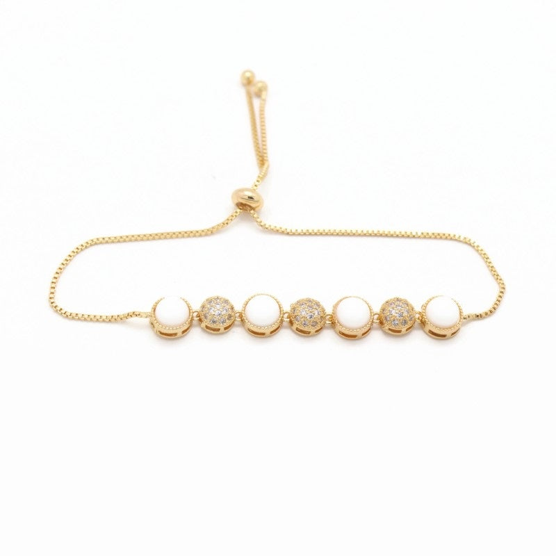 18Kt Gold Plated Women's Fashion Bracelet Elegant Simple Zircon Decor Accessory - Jawaherat