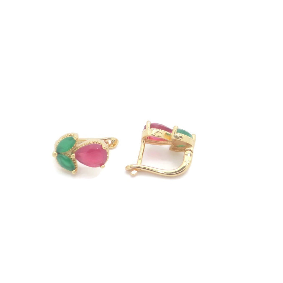 18Kt Gold Plated Ruby Earrings - Jawaherat