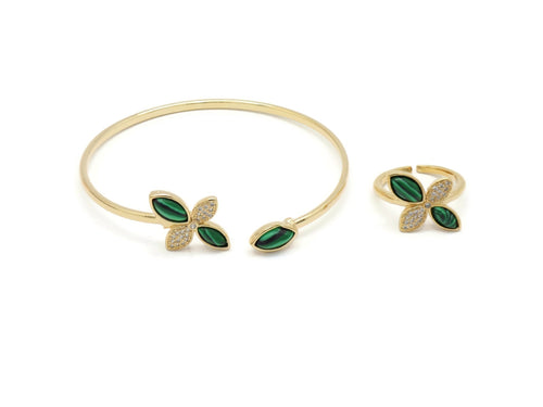 18kt  Stylish Malachite series Leaf fashion Cuff Barcelet set