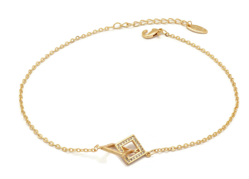 Florence Collection Women's Anklet, 18kt Gold plated, Entangled square charms, Embedded with beautiful  cubic white stones around the corners, Adjustable chain, hypoallergenic