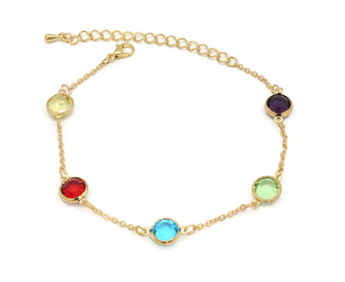 The multi colour stone studded anklet an unique design with adjustable chain and lobster clasps.