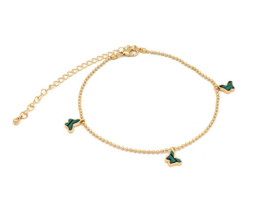 The Green goblin's Butterfly studded with green ceramic anklet with an unique design with adjustable chain and lobster clasps.