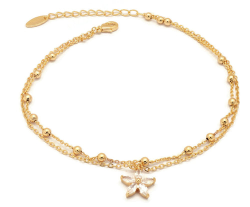 Florence Collection Women's Anklet, 18kt Gold plated, Star charms, Embedded with beautiful  cubic white stones around the corners, Adjustable chain, hypoallergenic