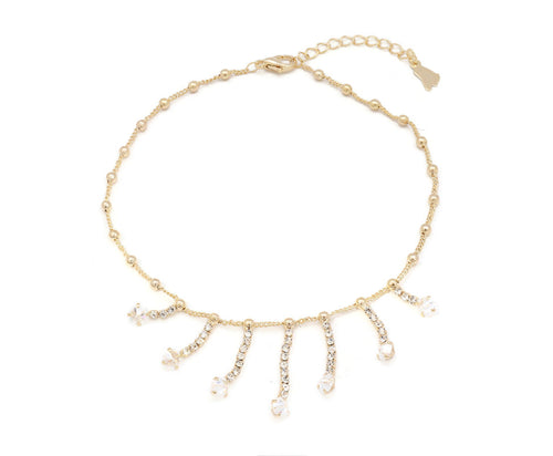 The dangling chandelier studded with Zircon stones on anklet with an unique design with adjustable chain and lobster clasps.