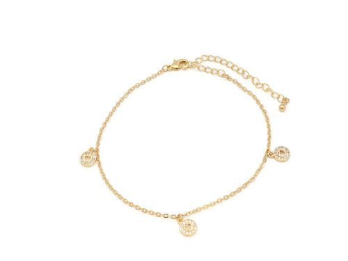 The Spherical heart anklet studded with Zircon stones on anklet with an unique design with adjustable chain and lobster clasps.