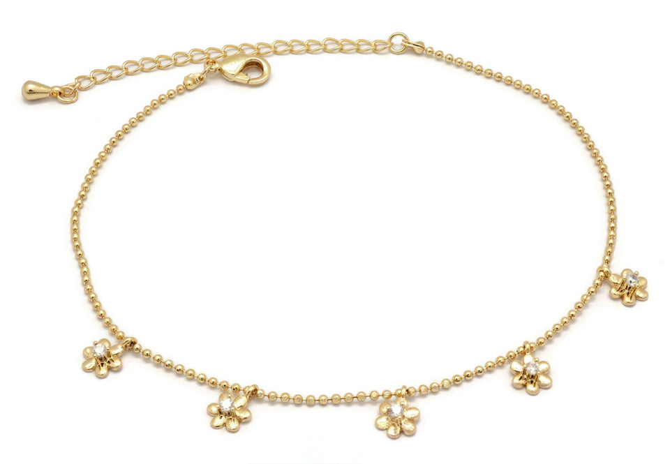 Florence Collection Women's Anklet, 18kt Gold plated, flower charms, Cubic white stones, Adjustable chain, hypoallergenic