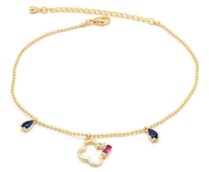 Florence Collection Women's Anklet, 18kt Gold plated,clover leaf charms, Set with Multi colored Gemstones and Cubic white stones, Adjustable chain, hypoallergenic