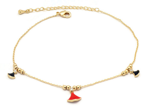 Florence Collection Women's Anklet, 18kt Gold plated,Bell charms, Set with Cubic white stones, Adjustable chain, hypoallergenic