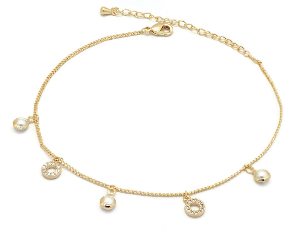 Florence Collection Women's Anklet, 18kt Gold plated, Circular charms, Set with Beautiful pearl stone and Cubic white stones, Adjustable chain, hypoallergenic