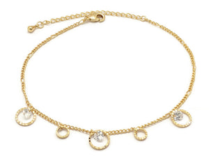 Florence Collection Women's Anklet, 18kt Gold plated, Circular charms, Set with beautiful  cubic white stones, Adjustable chain, hypoallergenic