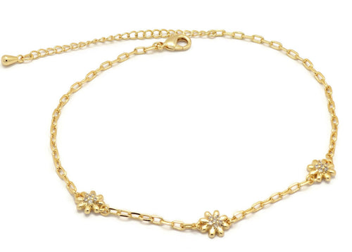Florence Collection Women's Anklet, 18kt Gold plated, Flower charms, Set with Beautiful cubic white stones, Adjustable chain, hypoallergenic