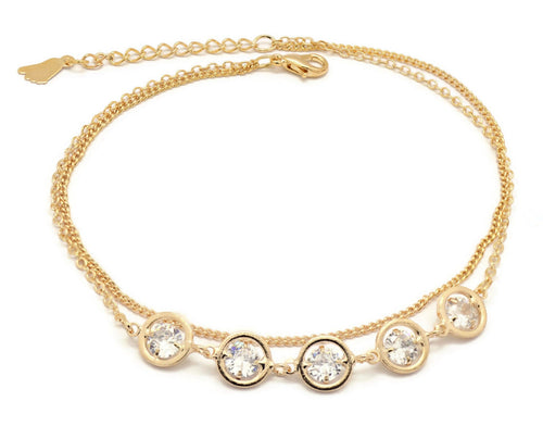 Florence Collection Women's Anklet, 18kt Gold plated, Circular charms, two layered chain,  Set with beautiful  cubic white stones, Adjustable chain, hypoallergenic
