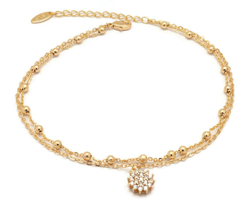 Florence Collection Women's Anklet, 18kt Gold plated, Circular charms, Two layered chain,  embedded with beautiful  cubic white stones, Adjustable chain, hypoallergenic