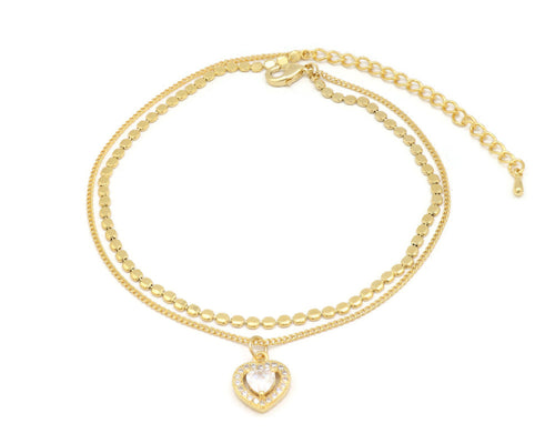 The Zircon stone studded heart anklet with double chain and an unique design with adjustable chain and lobster clasps.