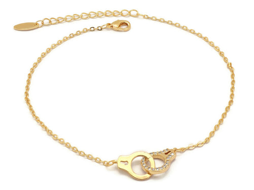 Florence Collection Women's Anklet, 18kt Gold plated, Hand cuff charms, Two layered chain,  Embedded with beautiful  cubic white stones around the corners, Adjustable chain, hypoallergenic