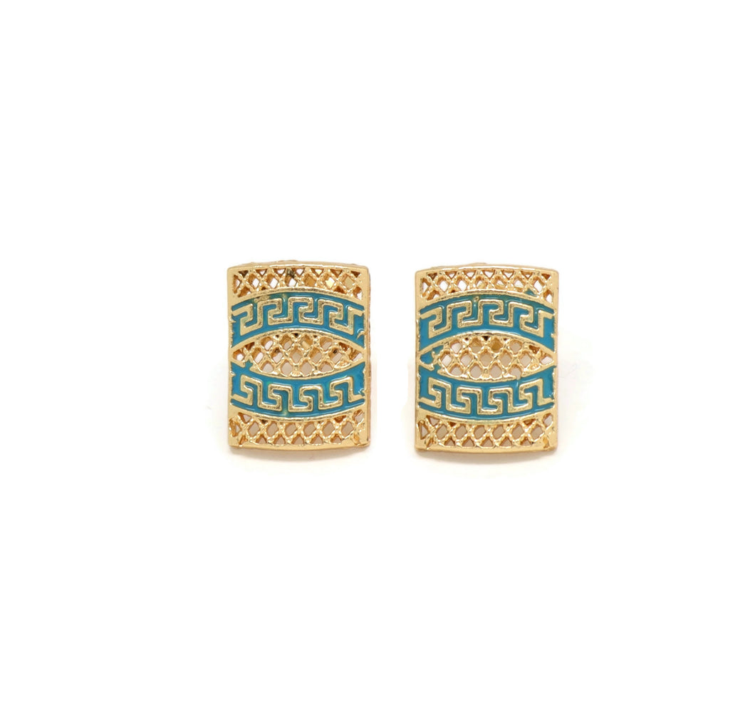 Greek Style Geometric shape Design Stud Earrings