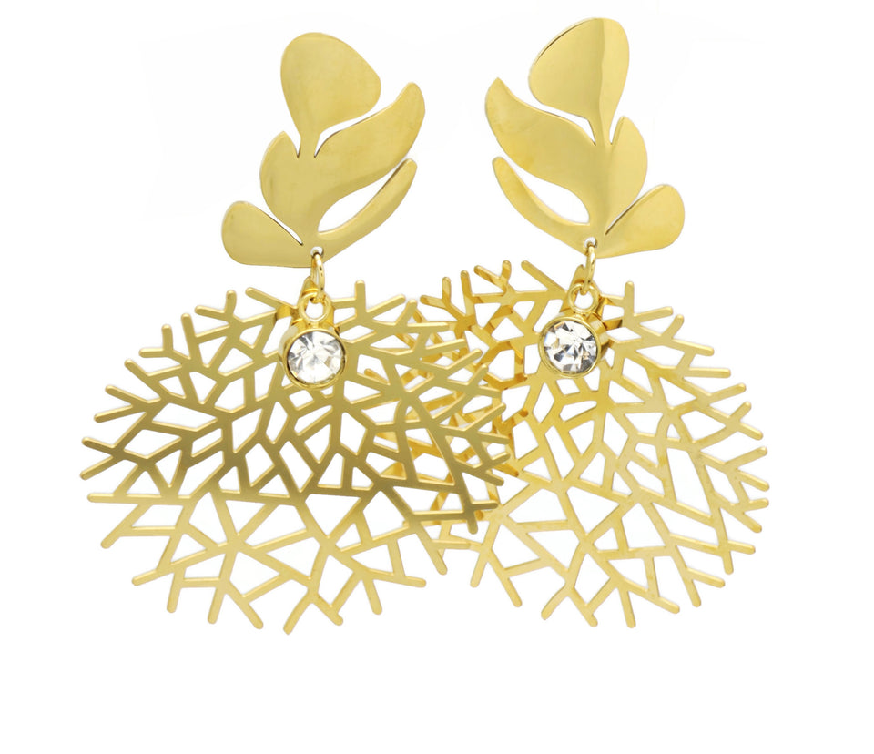 18kt Luxury Fashion Leaves Design Danngling Earring