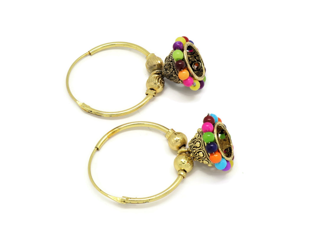 18kt  Crystal multi-color Inspired Jhumka Earrings