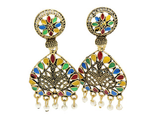Bollywood  Crystal multi-colored Inspired Jhumka Earrings