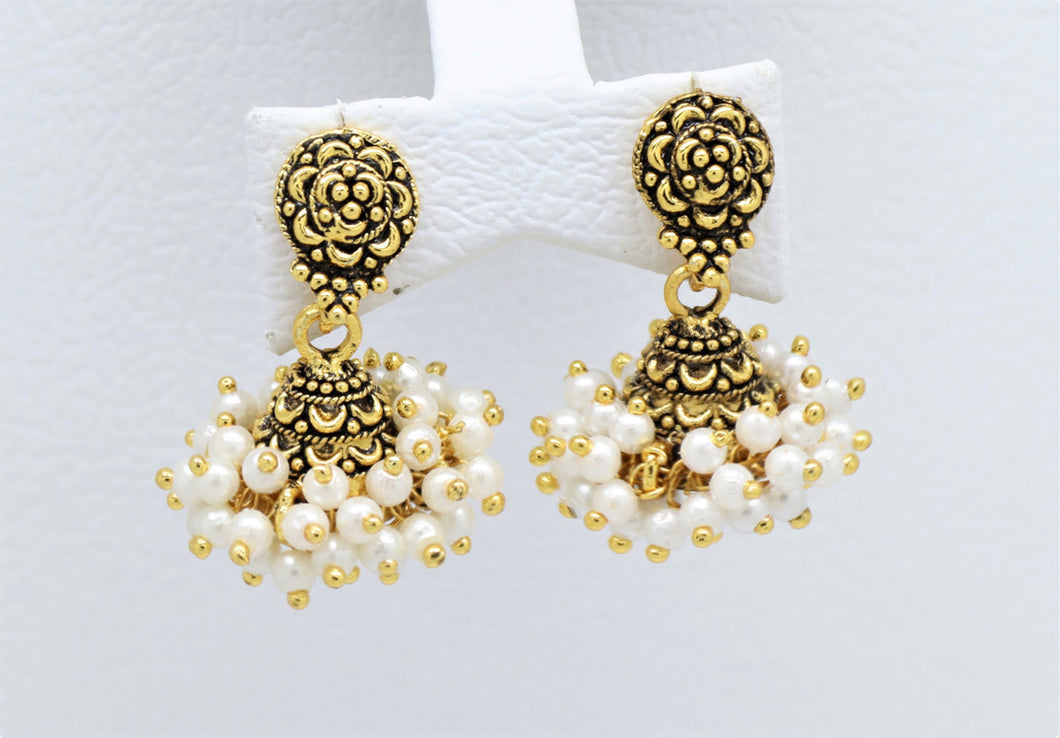 Bollywood  Crystal multi-colored Inspired Pearl Jhumka Earrings 18kt Gold plated
