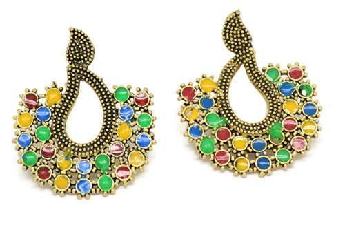 Bollywood Inspired  multi-colored Earrings 18kt Gold plated