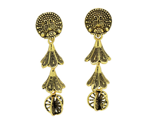 Bollywood  Crystal multi-colored Inspired Jhumka Earrings 18kt Gold plated