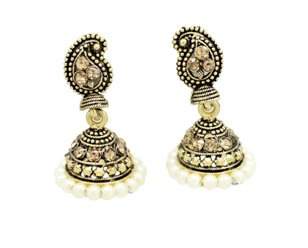 Bollywood  Inspired Crystal pearl Jhumka Earrings 18kt Gold plated