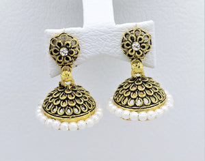 Bollywood  Inspired Crystal white  pearl Jhumka Earrings 18kt Gold plated
