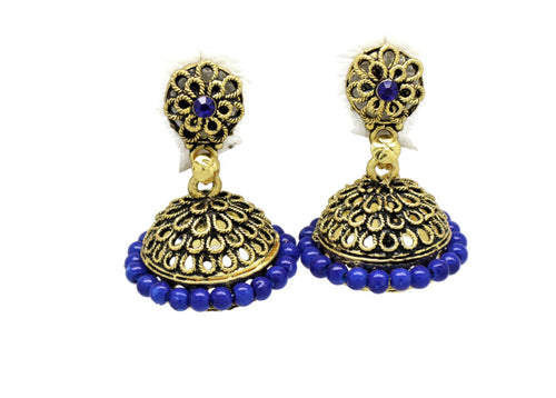 Bollywood  Inspired Crystal blue pearl Jhumka Earrings 18kt Gold plated