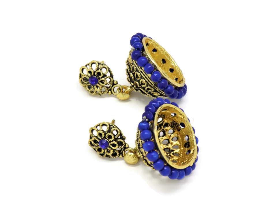 18kt Bollywood  Inspired Crystal blue pearl Jhumka Earrings