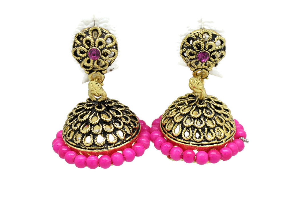 Bollywood  Inspired Crystal pink pearl Jhumka Earrings 18kt Gold plated