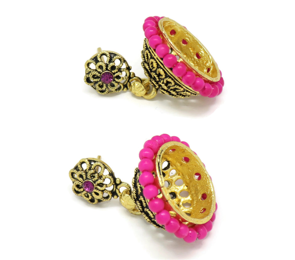 18kt Bollywood  Inspired Crystal pink pearl Jhumka Earrings