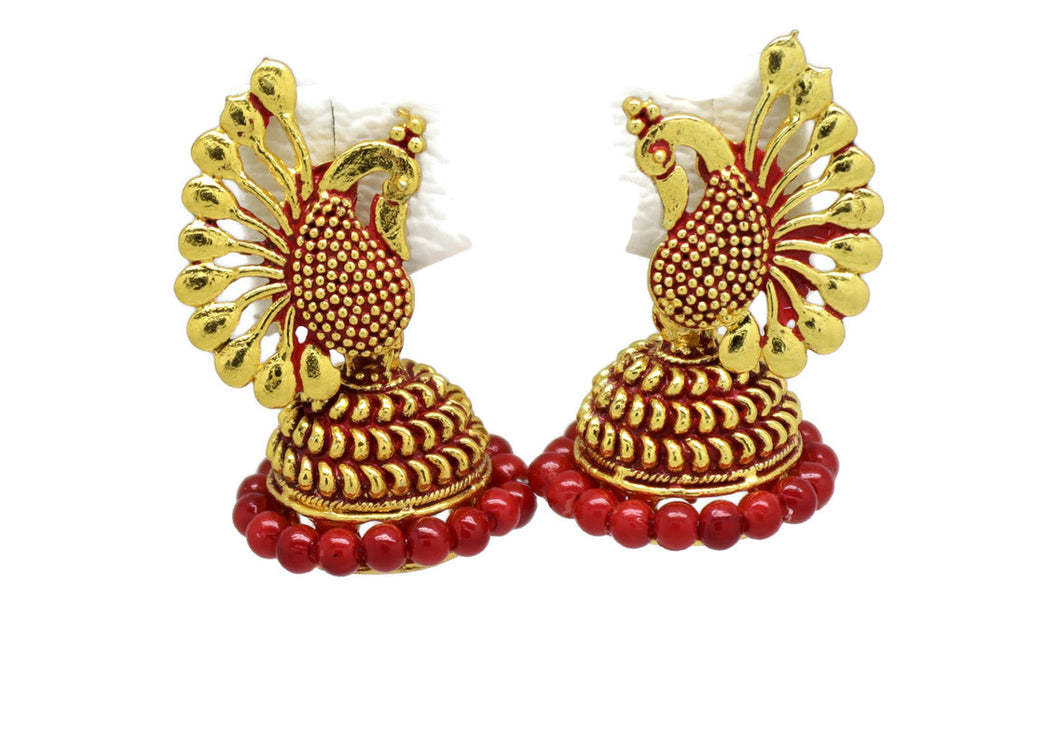 Indian Bollywood  Crystal Red Pearl Peacock Inspired Jhumka Earrings