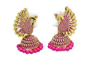 Indian Bollywood  Crystal Pink Pearl Peacock Inspired Jhumka Earrings