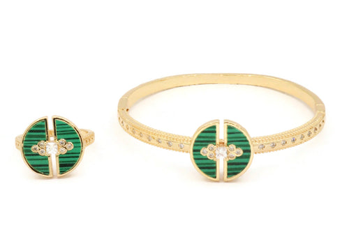 Sterling bangle with green ceramic stones with and half moon designs with zircon stones and similar rings