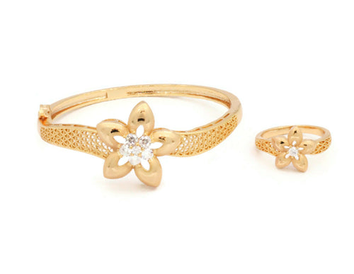 Sterling Laser printed bangle with zircon stones and gold plated flower designs with a similar design ring