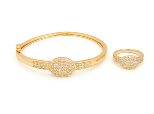 Sterling Laser printed bangle with zircon stones embedded in oval design with similar ring