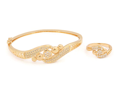 Sterling Laser printed bangle with zircon stones embedded in an elegant design with a similar ring