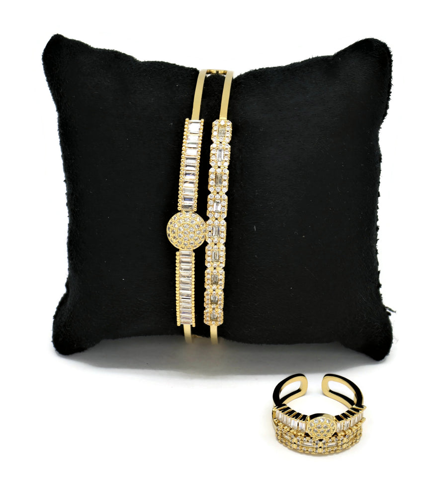 Cuff  Luxury Bracelet + Ring Set White Cubic Stones 18kt
