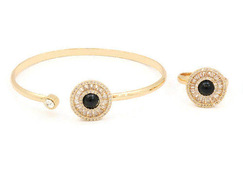 Sterling cuff bangle with zircon and ceramic stones with black dotted sphere design with a similar design ring