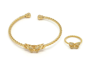 18kt  Butterfly design Twisted rope cuff Bracelet + ring Set